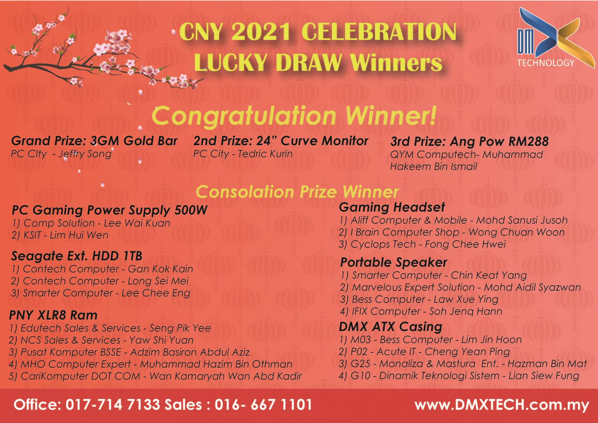 Congratulations to all Lucky Draw Winners!!