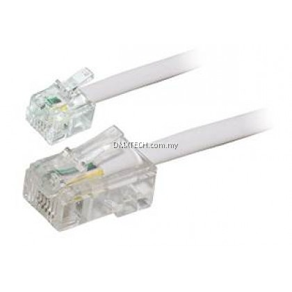 6P4C Flat Telephone Line Cord (Male to Male) 2M