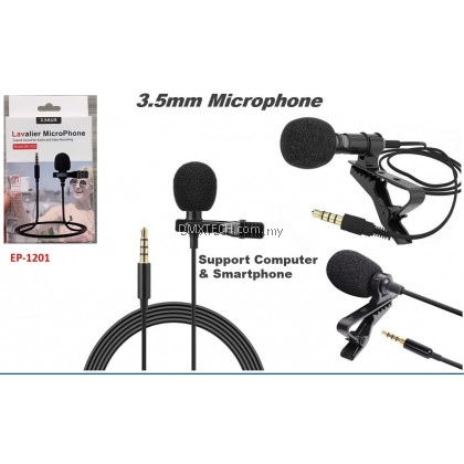 Wired Live Recording Microphone 3.5mm with clip
